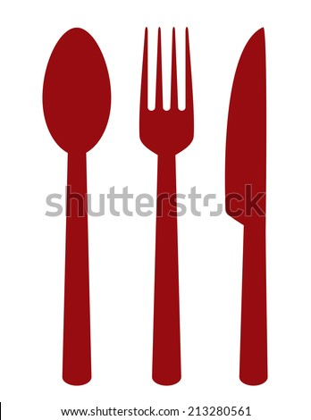 red cutlery set on white background - stock vector