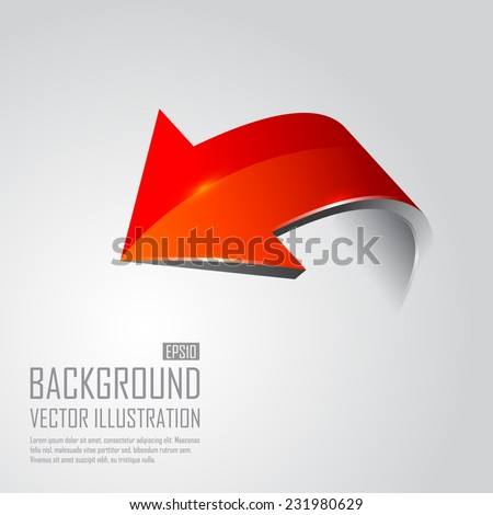 Red 3d arrows. Vector illustration - stock vector