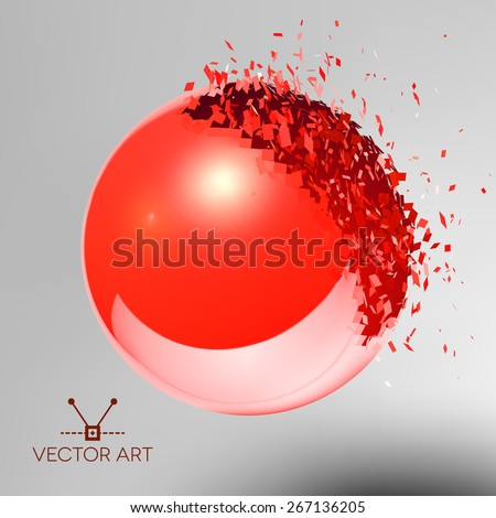 Red 3D ball with reflection exploded into messy pieces - stock vector