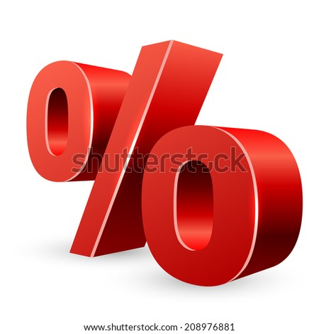 Red 3D percent sign isolated on white background. - stock vector