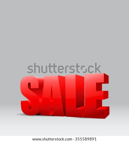 Red 3D sign SALE - vector illustration - stock vector