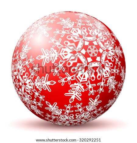 Red 3D Sphere with Mapped Snowflake Texture on White Background and Smooth Shadow. Holiday Season - Christmas Greeting Card - Symbol, Decoration, Decor, Icon. - stock vector
