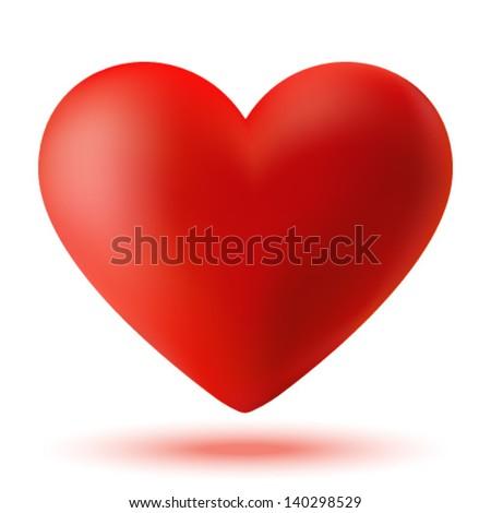 Red 3d valentine heart, vector illustration - stock vector
