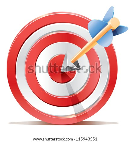 Red darts target aim and arrow. Successful shoot. No transparency - only gradient. - stock vector