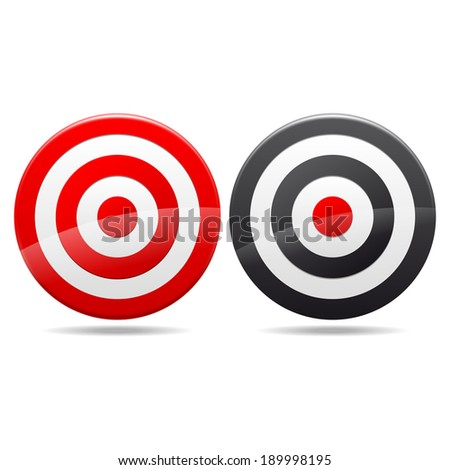 Red darts target aim on white background.  - stock vector