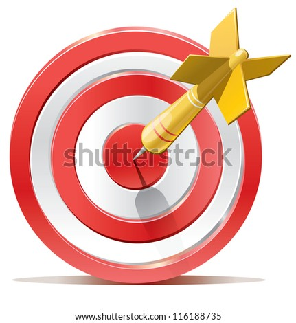 Red darts target aim. Successful shoot. Vector illustration - stock vector