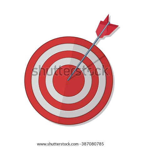 Red darts target aim. Successful shoot. Vector illustration - stock vector