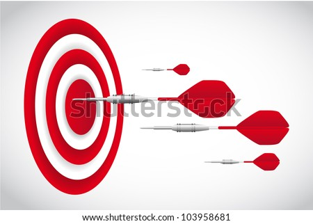 red darts with dartboardd over gray background. vector - stock vector