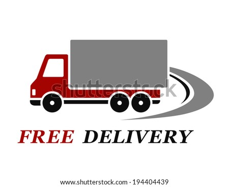 red delivery truck with abstract highway on white background - stock vector