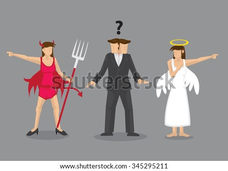 Red devil and white angel pointing to different direction leaving cartoon man confused. Creative vector illustration for difficult decision concept isolated on grey background. - stock vector