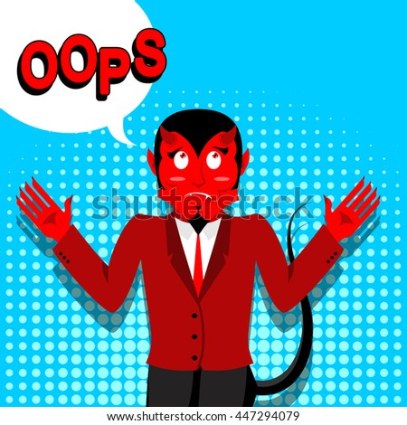 Red Devil speak OOPS. Surprised by demon. Satan is perplexed. Style of pop art. Bubble for text. Lucifer boss with horns. Religious and mythological character, supreme spirit of evil. Diablo - stock vector