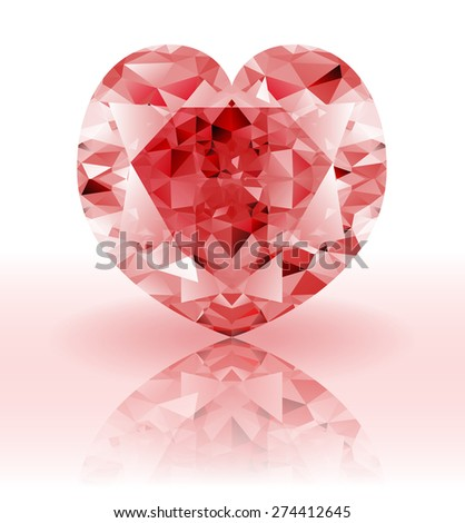 Red Diamond, heart shaped ruby gemstone on a white background with reflection  - stock vector