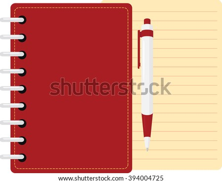red diary  personal organizer with pen and sheet of paper - stock vector