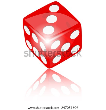Red dice with reflect on white background illustration vector - stock vector