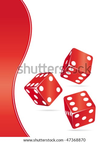 Red dices casino background. Vector illustration.