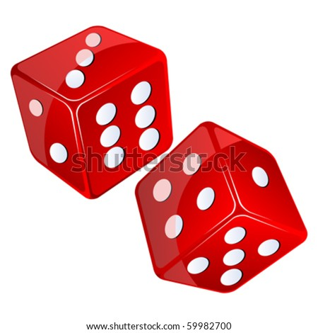red dices, isolated objects against white background - stock vector