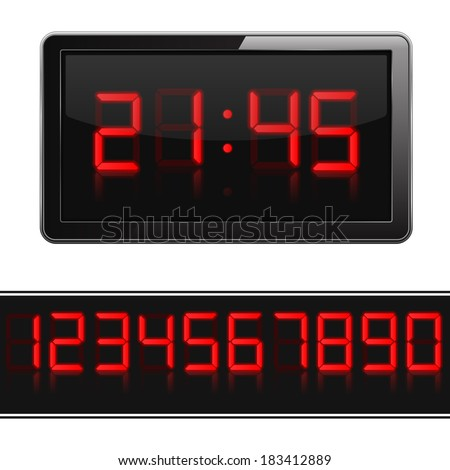 Red digital clock and numbers, vector eps10 illustration - stock vector