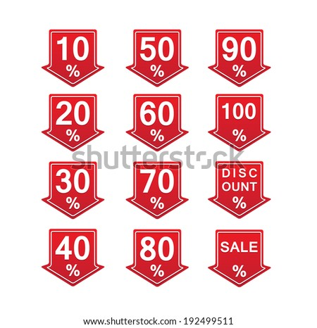 red discount price tag vector illustration with arrows and percents - stock vector