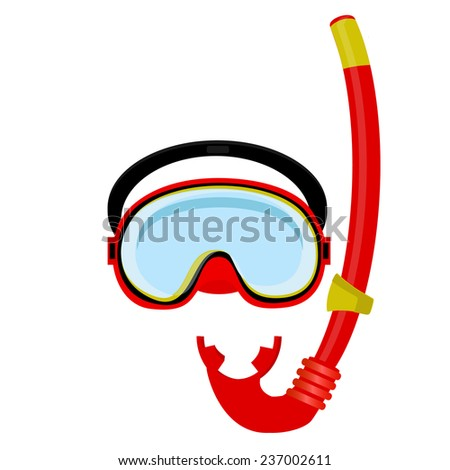 Red diving mask, diving tube, swimming equipment, snorkeling - stock vector