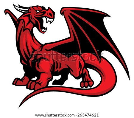 red dragon mascot - stock vector
