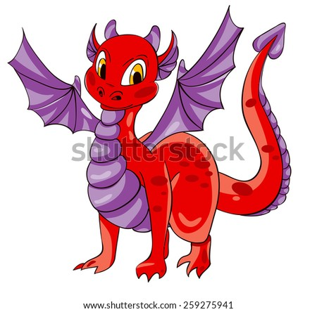 Red dragon with purple wings. Vector illustration - stock vector