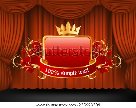 Red draped theater and decorative frame. Vector