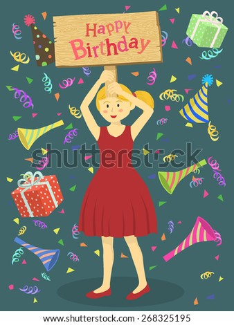 Red Dress Birthday Girl. A cute girl with red dress holding birthday greeting board in blue background. - stock vector
