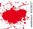 Red drop ink splatter, blood splash vector. Gloss brush paint spot, grunge blot, art blob, oil, abstract droplet. Splat, liquid illustration. Space for text. - stock vector