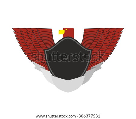 Red Eagle on military emblem. Bird with wings and black shield. Vector logo. - stock vector