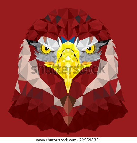 Red Eagle with geometric pattern vector - stock vector