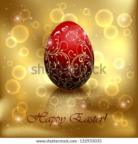 Red Easter egg with decorative elements on golden background, illustration. - stock vector