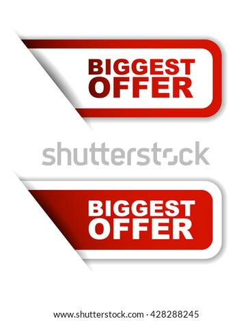 Red easy vector illustration isolated horizontal banner biggest offer two versions. This element is well adapted to web design. - stock vector