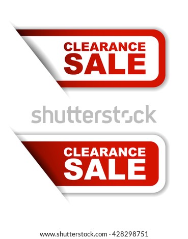 Red easy vector illustration isolated horizontal banner clearance sale two versions. This element is well adapted to web design. - stock vector