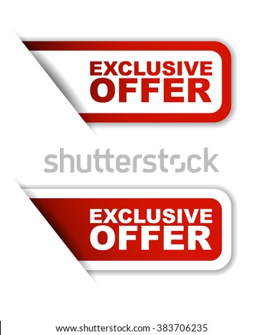 Red easy vector illustration isolated horizontal banner exclusive offer two versions. This element is well adapted to web design. - stock vector