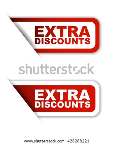 Red easy vector illustration isolated horizontal banner extra discounts two versions. This element is well adapted to web design. - stock vector