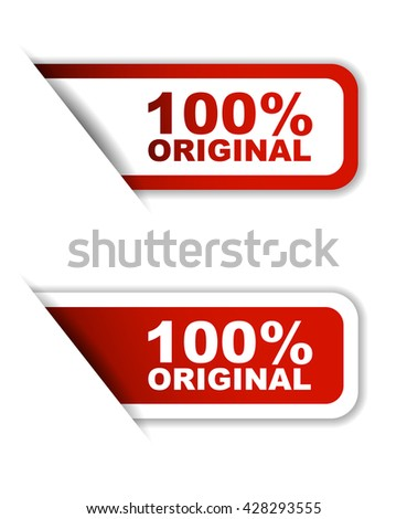 Red easy vector illustration isolated horizontal banner 100% original two versions. This element is well adapted to web design. - stock vector