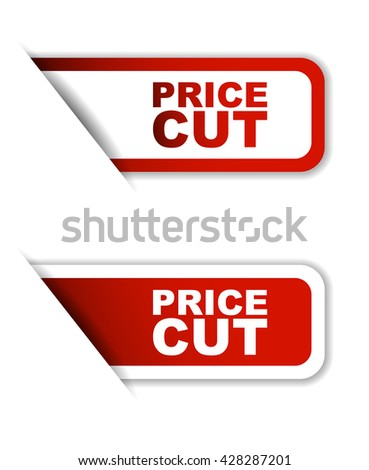 Red easy vector illustration isolated horizontal banner price cut two versions. This element is well adapted to web design. - stock vector