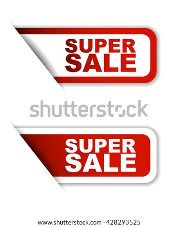 Red easy vector illustration isolated horizontal banner super sale two versions. This element is well adapted to web design. - stock vector