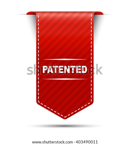 Red easy vector illustration isolated ribbon banner patented. This element is well adapted to web design. - stock vector