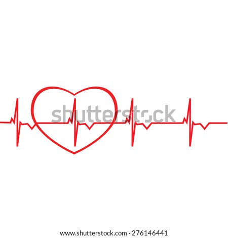 Red ekg line with heart silhouette vector isolated. Heart monitor. Electrocardiogram - stock vector