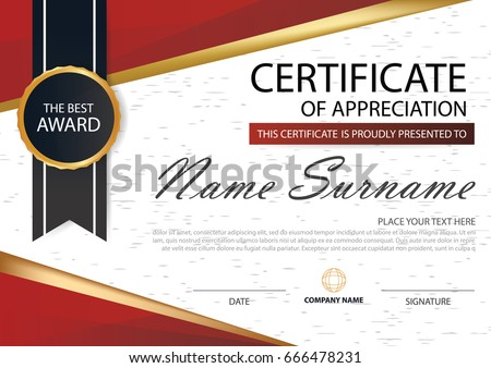red elegance horizontal certificate with vector illustration white frame certificate template with clean and modern