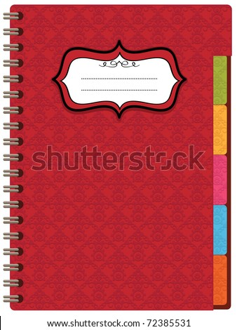 red embossed spiral notebook with blank label ready for text