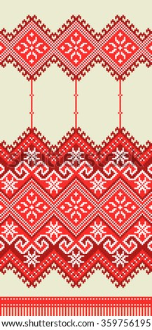 red embroidered good like old handmade cross-stitch ethnic Ukraine pattern. Ukrainian towel with ornament, rushnyk called, in vector - stock vector