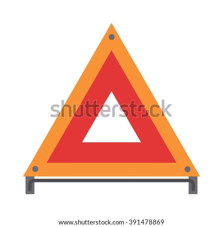 Red emergency road sign triangle and warning car accident road emergency sign flat vector. Red warning triangle emergency road sign flat vector illustration icon.  - stock vector
