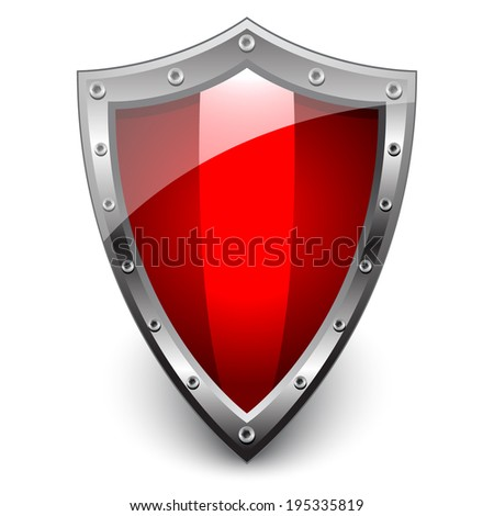 Red empty metal shield - stock vector