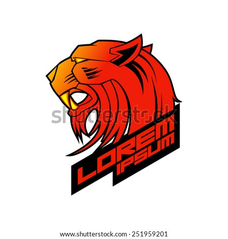 Red evil tiger head logo template. - stock vector