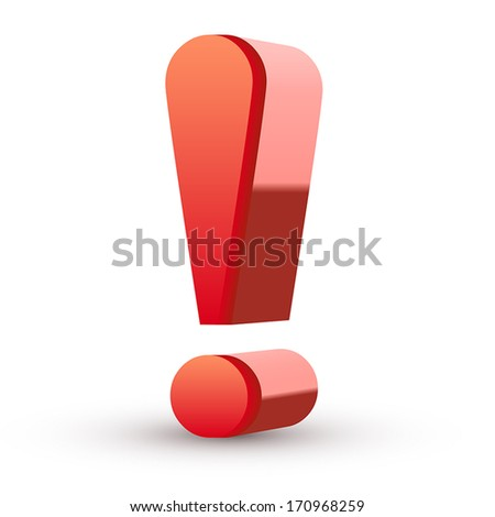 Red exclamation mark isolated white background - stock vector
