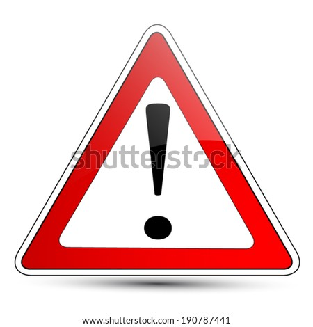 Red exclamation mark warning road sign  - stock vector