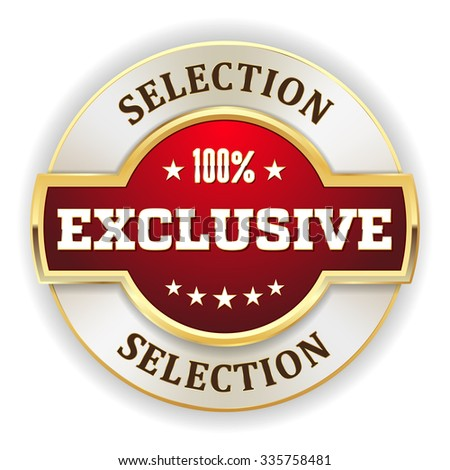 Red exclusive selection badge with gold border - stock vector