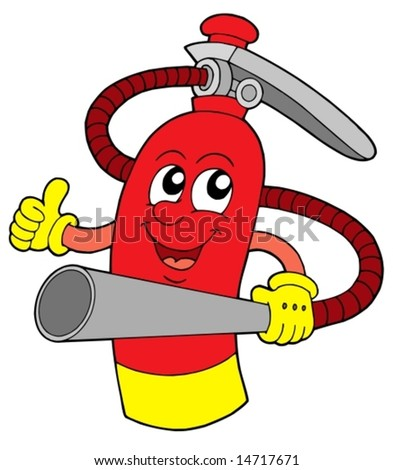 Red extinguisher with face - vector illustration. - stock vector